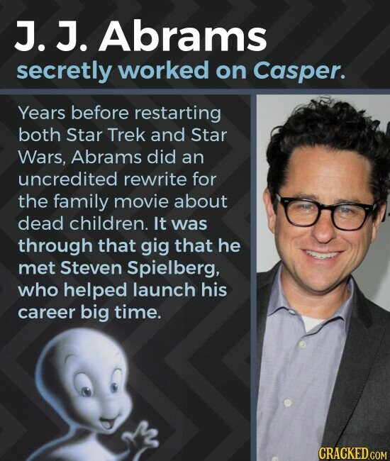 J. J. Abrams secretly worked on Casper. Years before restarting both Star Trek and Star Wars, Abrams did an uncredited rewrite for the family movie about dead children. It was through that gig that he met Steven Spielberg, who helped launch his career big time. CRACKED.COM
