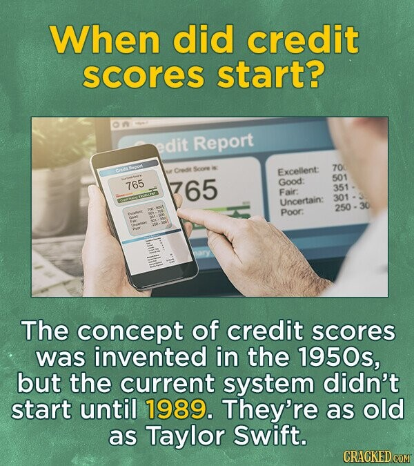 When did credit scores start? edit Report 70 Cressr Soore Excellent: 501 Good: 765 765 351 Fair: 301 Uncertain: 250-30 Poor: The concept of credit scores was invented in the 1950s, but the current system didn't start until 1989. They're as old as Taylor Swift.
