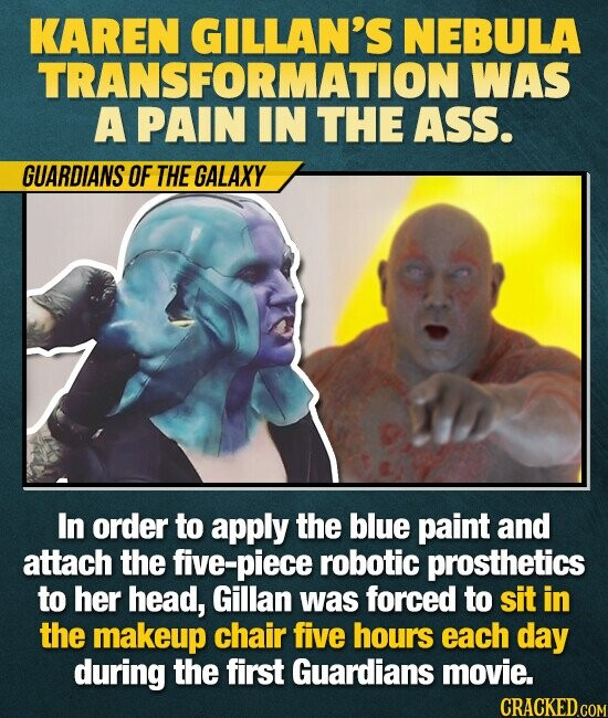 KAREN GILLAN'S NEBULA TRANSFORMATION WAS A PAIN IN THE ASS. GUARDIANS OF THE GALAXY In order to apply the blue paint and attach the five-piece robotic prosthetics to her head, Gillan was forced to sit in the makeup chair five hours each day during the first Guardians movie.