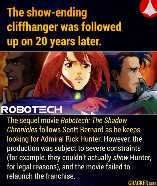 The show-ending cliffhanger was followed up on 20 years later. The sequel movie Robotech: The Shadow Chronicles follows Scott Bernard as he keeps looking for Admiral Rick Hunter. However, the production was subject to severe constraints (for example, they couldn't actually show Hunter, for legal reasons), and the movie