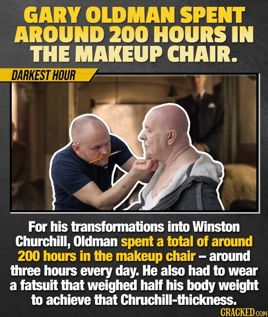 GARY OLDMAN SPENT AROUND 200 HOURS IN THE MAKEUP CHAIR. DARKEST HOUR For his transformations into Winston Churchill, Oldman spent a total of around 200 hours in the makeup chair - around three hours every day. He also had to wear a fatsuit that weighed half his body weight to achieve
