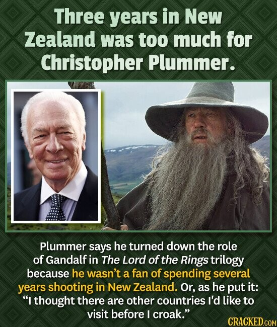 Three years in New Zealand was too much for Christopher Plummer. Plummer says he turned down the role of Gandalf in The Lord of the Rings trilogy beca