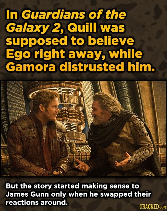 In Guardians of the Galaxy 2, Quill was supposed to believe Ego right away, while Gamora distrusted him. But the story started making sense to James G