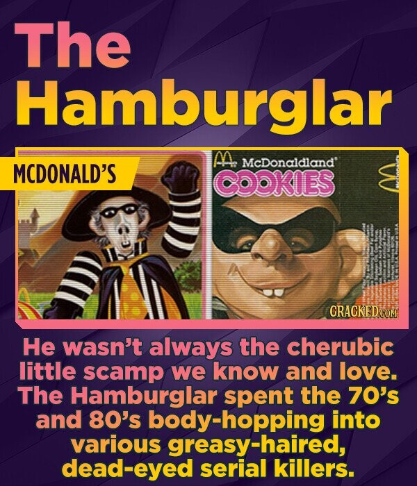The Hamburglar M MCDONALD'S McDonaldland COOKIES CRACKEDO He wasn't always the cherubic little scamp we know and love. The Hamburglar spent the 70's and 80's oody-hopping into various greasy-haired, dead-eyed serial killers.