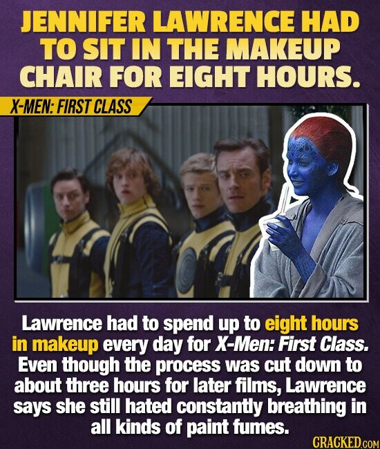 JENNIFER LAWRENCE HAD TO SIT IN THE MAKEUP CHAIR FOR EIGHT HOURS. X-MEN: FIRST CLASS Lawrence had to spend up to eight hours in makeup every day for X-Men: First Class. Even though the process was cut down to about three hours for later films, Lawrence says she still hated