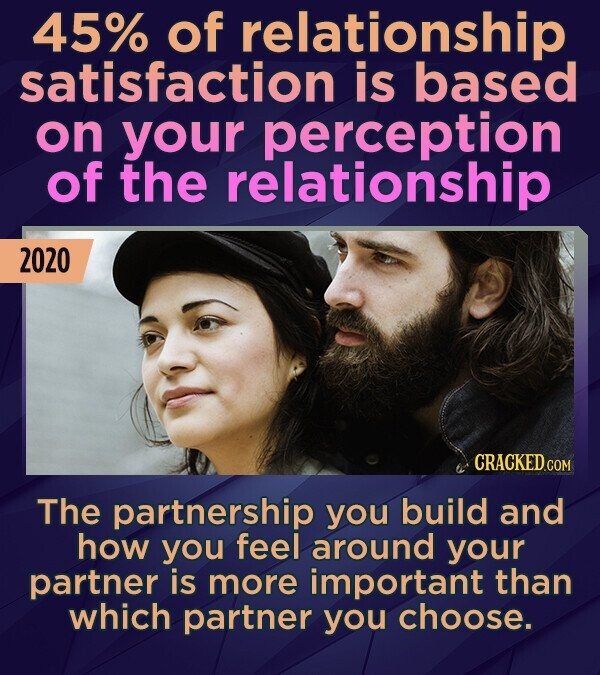 45% of relationship satisfaction is based on your perception of the relationship 2020 The partnership you build and how you feel around your partner i