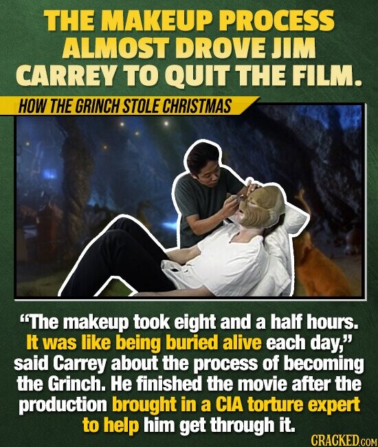 THE MAKEUP PROCESS ALMOST DROVE JIM CARREY TO QUIT THE FILM. HOW THE GRINCH STOLE CHRISTMAS The makeup took eight and a half hours. It was like being buried alive each day, said Carrey about the process of becoming the Grinch. He finished the movie after the production brought in