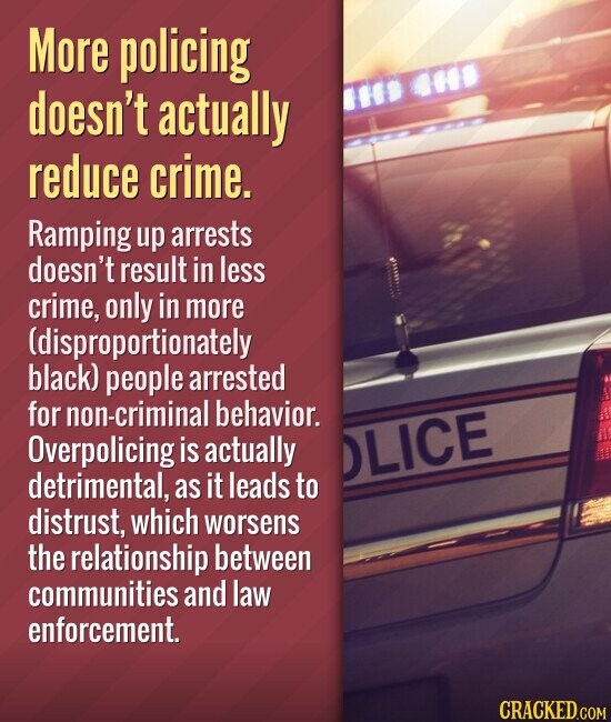 More policing doesn't actually reduce crime. Ramping up arrests doesn't result in less crime, only in more (disproportionately black) people arrested for non-criminal behavior. Overpolicing is actually detrimental, as it leads to distrust, which worsens the relationship between communities and law enforcement.