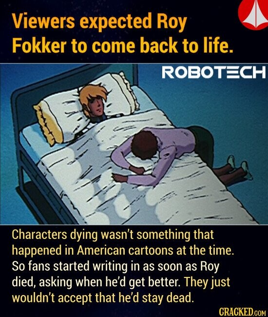 Viewers expected Roy Fokker to come back to life. Characters dying wasn't something that happened in American cartoons at the time. So fans started writing in as soon as Roy died, asking when he'd get better. They just wouldn't accept that he'd stay dead.