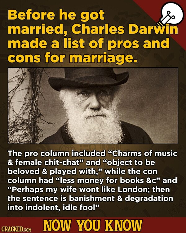 Before he got married, Charles Darwin made a list of pros and cons for marriage. The pro column included Charms of music & female chit-chat and object to be beloved & played with, while the con column had less money for books &C and Perhaps my wife wont like London;