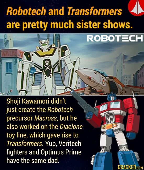 Robotech and Transformers are pretty much sister shows. Shoji Kawamori didn't just create the Robotech precursor Macross, but he also worked on the Diaclone toy line, which gave rise to Transformers. Yup, Veritech fighters and Optimus Prime have the same dad.