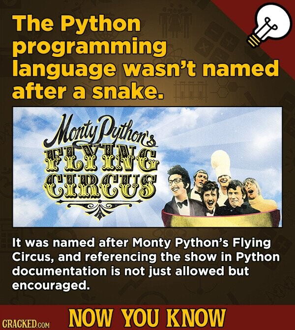 The Python programming language wasn't named after a snake. Mortuy ython's T RT8 I LI IWUR OU CCUs 8TDD It was named after Monty Python's Flying Circus, and referencing the show in Python documentation is not just allowed but encouraged. NOW YOU KNOW CRACKED.COM