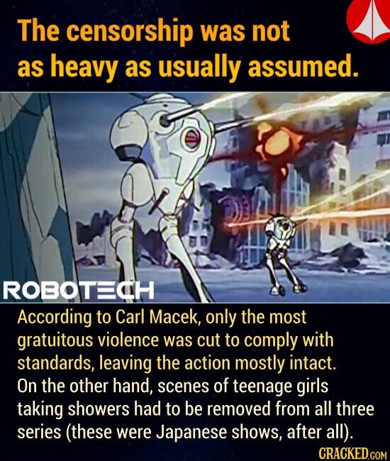 The censorship was not as heavy as usually assumed. According to Carl Macek, only the most gratuitous violence was cut to comply with standards, leaving the action mostly intact. On the other hand, scenes of teenage girls taking showers had to be removed from all three series (these were