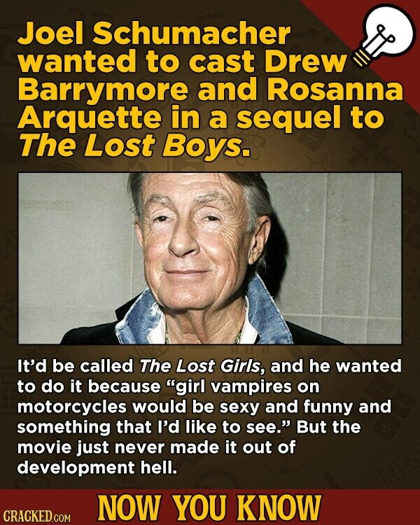 Joel Schumacher wanted to cast Drew Barrymore and Rosanna Arquette in a sequel to The Lost Boys. It'd be called The Lost Girls, and he wanted to do it because girl vampires on motorcycles would be sexy and funny and something that I'd like to see. But the movie just