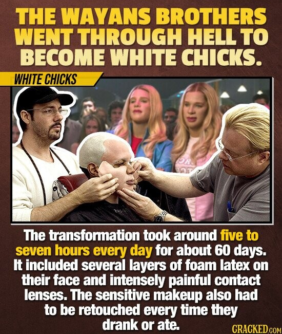 THE WAYANS BROTHERS WENT THROUGH HELL TO BECOME WHITE CHICKS. WHITE CHICKS The transformation took around five to seven hours every day for about 60 days. It included several layers of foam latex on their face and intensely painful contact lenses. The sensitive makeup also had to be retouched every