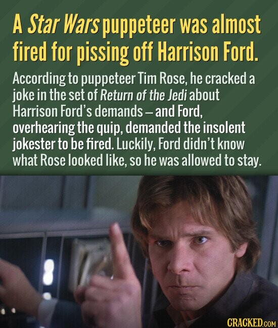 A Star Wars puppeteer was almost fired for pissing off Harrison Ford. According to puppeteer Tim Rose, he cracked a joke in the set of Return of the Jedi about Harrison Ford's demands - -and Ford, overhearing the quip, demanded the insolent jokester to be fired. Luckily, Ford didn't know what