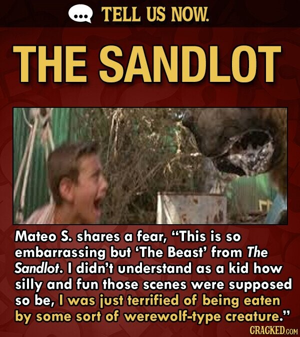 TELL US NOW. THE SANDLOT Mateo S. shares a fear, This is so embarrassing but 'The Beast' from The Sandlot. I didn't understand as a kid how silly and fun those scenes were supposed So be, I was just terrified of being eaten by some sort of werewolf-type creature. CRACKED.COM