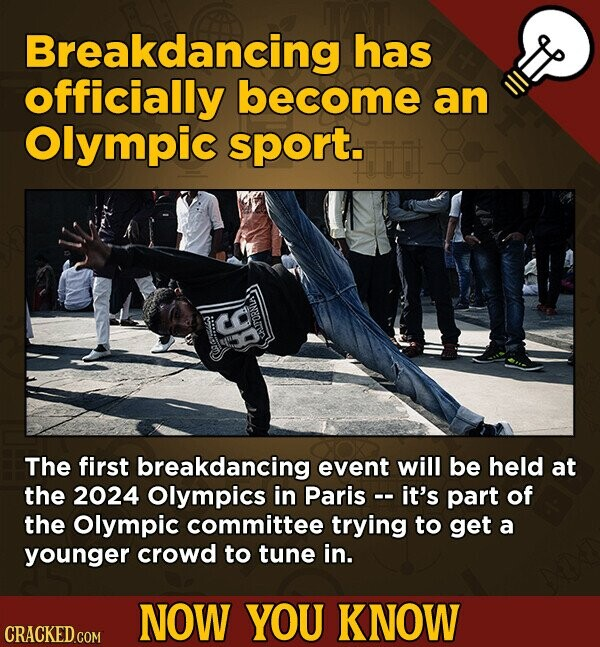 Breakdancing has officially become an Olympic sport. TORNiA 86 Ch The first breakdancing event will be held at the 2024 Olympics in Paris -. it's part of the Olympic committee trying to get a younger crowd to tune in. NOW YOU KNOW CRACKED.COM