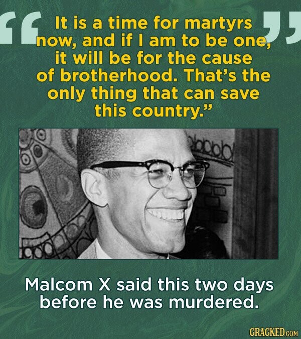It is a time for martyrs now, and if I am to be one, it will be for the cause of brotherhood. That's the only thing that can save this country. Malcom X said this two days before he was murdered.