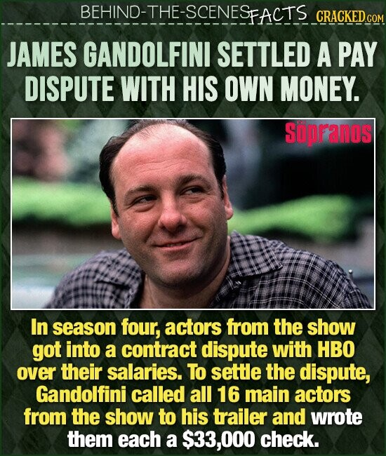 BEHIND-THE-SCENESFACTS CRACKEDC JAMES GANDOLFINI SETTLED A PAY DISPUTE WITH HIS OWN MONEY. sopFanos In season four, actors from the show got into a contract dispute with HBO over their salaries. To settle the dispute, Gandolfini called all 16 main actors from the show to his trailer and wrote them each