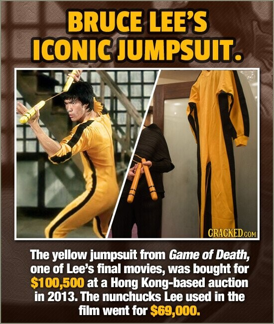 BRUCE LEE'S ICONIC JUMPSUIT. The yellow jumpsuit from Game of Death, one of Lee's final movies, was bought for $100,500 at a Hong Kong-based auction i