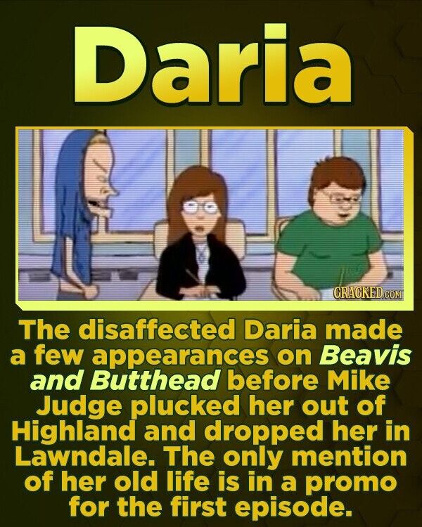 Daria CRACKEDG The disaffected Daria made a few appearances on Beavis and Butthead before Mike Judge plucked her out of Highland and dropped her in Lawndale. The only mention of her old life is in a promo for the first episode.