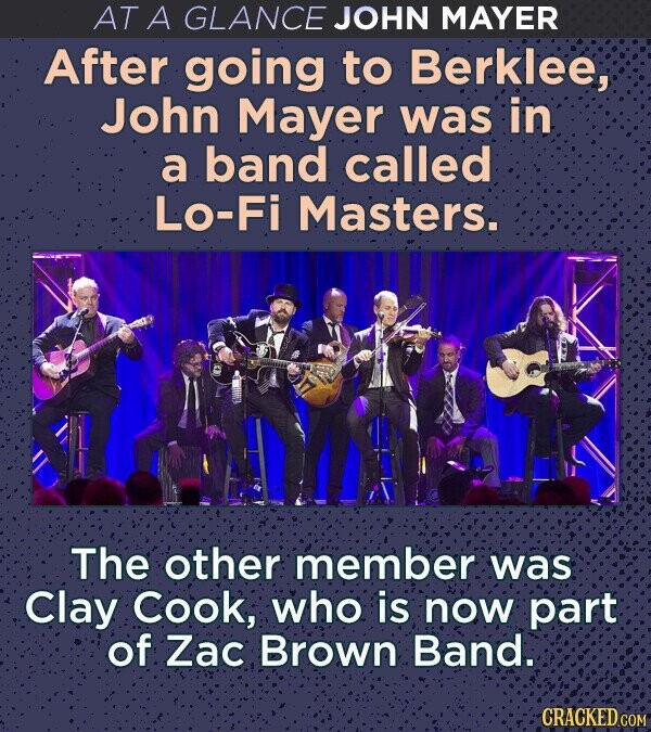 AT A GLANCE JOHN MAYER After going to Berklee, John Mayer was in a band called Lo-Fi Masters. The other member was Clay Cook; who is now part of Zac Brown Band. CRACKED COM