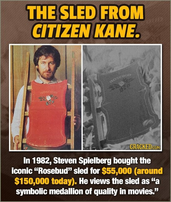 THE SLED FROM CITIZEN KANE. oepu RrOSeUN Sa In 1982, Steven Spielberg bought the iconic Rosebud sled for $55,000 (around $150,000 today). He views t
