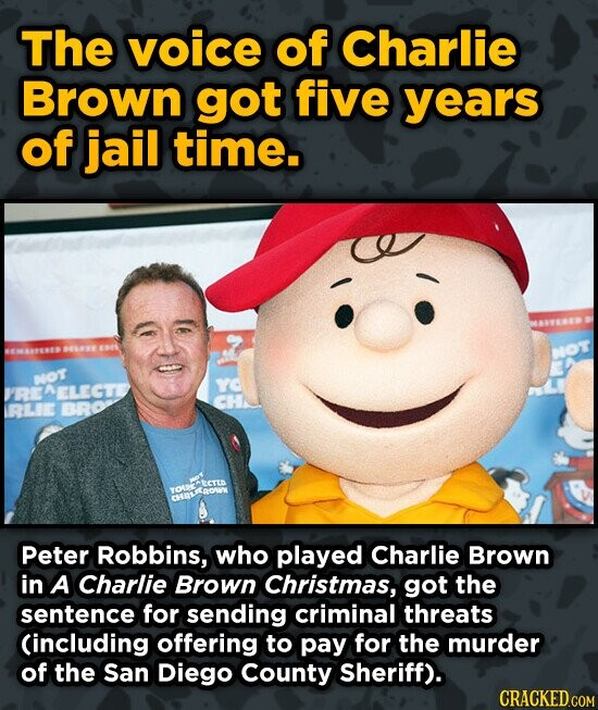 The voice of Charlie Brown got five years of jail time. 1 NOT YO RE NELECT CHA RLIE BRO YOR Peter Robbins, who played Charlie Brown in A Charlie Brown