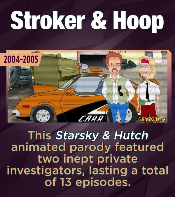 Stroker & Hoop 2004-2005 C.AR.R. CRACKED COM This Starsky & Hutch animated parody featured two inept private investigators, lasting a total of 13 episodes.
