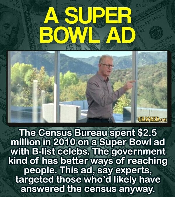 A SUPER KB46^ BOWL AD KB46279860 I B2 The Census Bureau spent $2.5 million in 2010 on a Super Bowl ad with B-list celebs. The government kind of has better ways of reaching people. This ad, say experts, targeted those who'd likely have answered the census anyway.