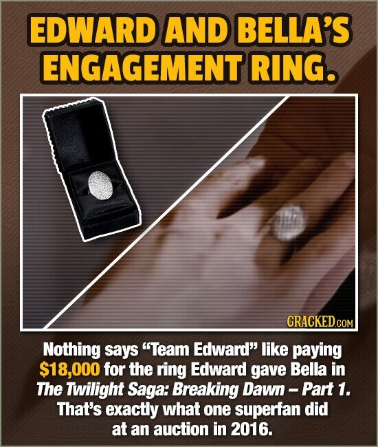 EDWARD AND BELLA'S ENGAGEMENT RING. CRACKED.COM Nothing says Team Edward like paying $18,000 for the ring Edward gave Bella in The Twilight Saga: Br