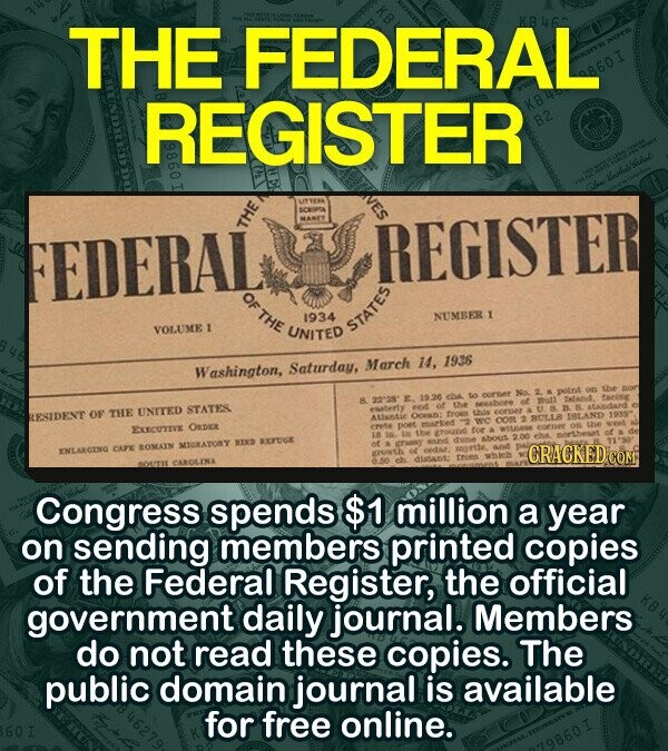THE FEDERAL REGISTER FEDERAL THE REGISTER O THE 1934 NUMBER I VOLUMEI UNITED STATES Saturday, March 14, 1936 Washington, the 1526 e mots STATES OF THE UNTTED RESIDENT ALSAnLLE Ocrent OOR BITLLB EXCECUTVE ODe ETUCE MORATONY ENLARCING CAPE EOSAIN CRACKED ORONTH dATE Congress spends $1 million a year on sending members
