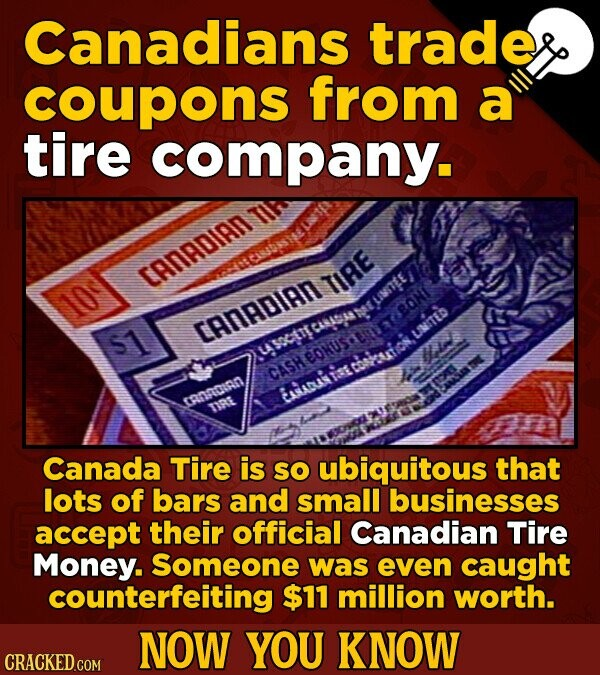 Canadians trade coupons from a tire company. CANADIAN TA TIRE 10 CANADIAN 51 LITEb usctT CASH AADUiATEIS CRNSOIRN TRE Canada Tire is SO ubiquitous tha