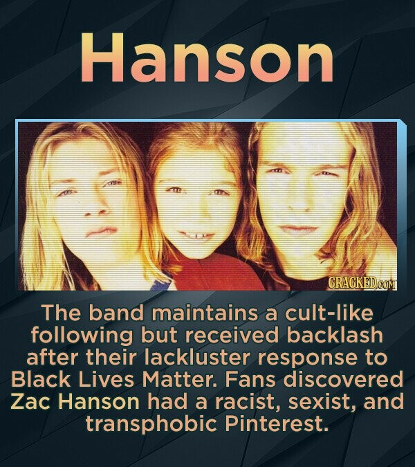 Hanson CRACKED The band maintains a cult-like following but received backlash after their lackluster response to Black Lives Matter. Fans discovered Zac Hanson had a racist, sexist, and transphobic Pinterest.