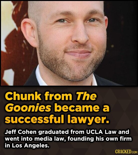 Chunk from The Goonies became a successful lawyer. Jeff Cohen graduated from UCLA Law and went into media law, founding his own firm in Los Angeles.