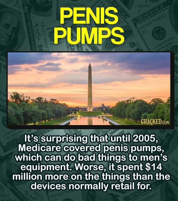 PENIS KB462 ONenu10 KBu62 PUMPS B46279860I CRACKED CO COM It's surprising that until 2005, Medicare covered penis pumps, which can do bad things to men's equipment. Worse, it spent $14 million more on the things than the devices normally retail for.