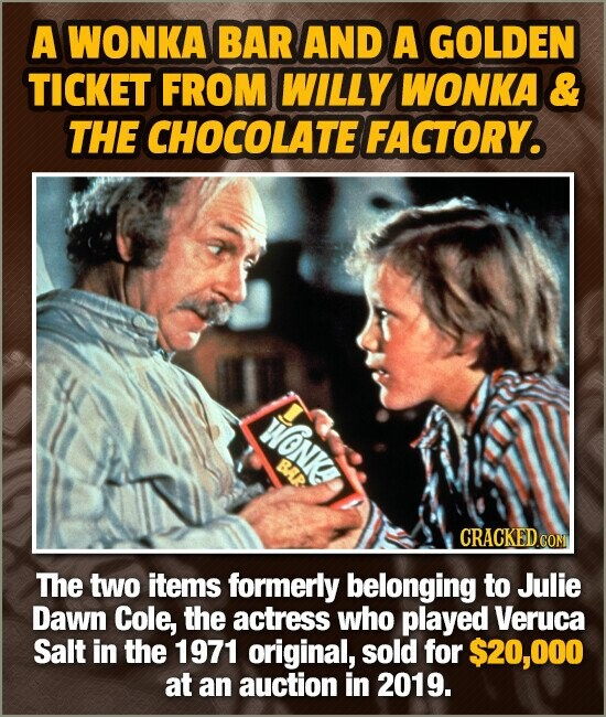 A WONKA BAR AND A GOLDEN TICKET FROM WILLY WONKA & THE CHOCOLATE FACTORY. WONK BAR CRACKEDCON COM The two items formerly belonging to Julie Dawn Cole,