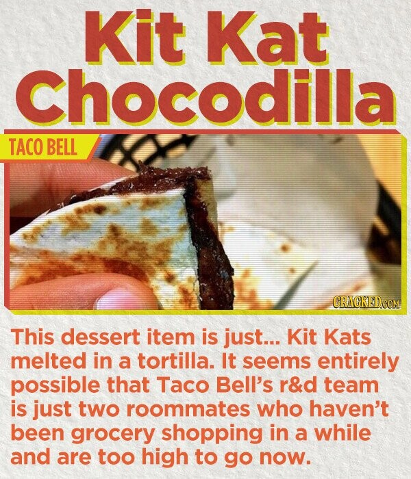 Kit Kat Chocodilla TACO BELL CRACKED COM This dessert item is just... Kit Kats melted in a tortilla. It seems entirely possible that Taco Bell's r&d team is just two roommates who haven't been grocery shopping in a while and are too high to go now.