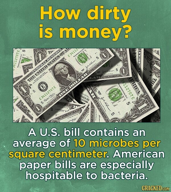 How dirty is money? A U.S. bill contains an average of 10 microbes per square centimeter. American paper bills are especially hospitable to bacteria.