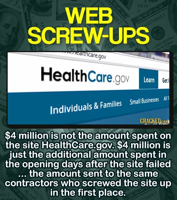 WEB KB460 SCREW-UPS 46279860I Healthcare.gov Learn Get Businesses AllT & Families Small Individuals CRACKED.CON $4 million is not the amount spent on the site Healthcare.gov. $4 million is just the additional amount spent in the opening days after the site failed ... the amount sent to the same contractors who screwed