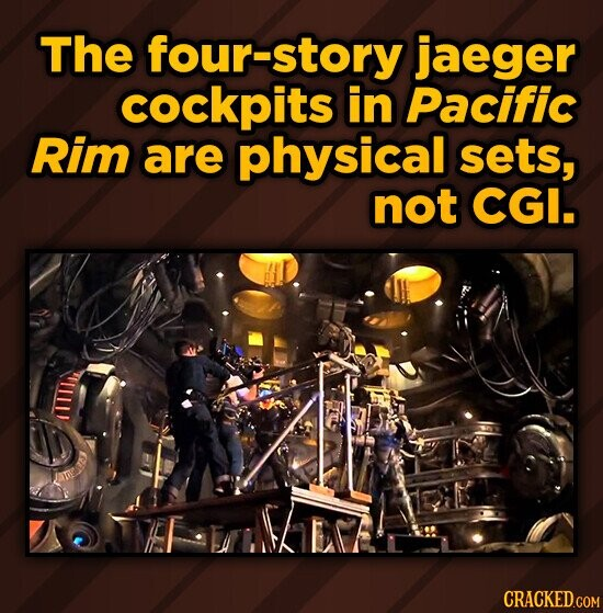The four-story jaeger cockpits in Pacific Rim are physical sets, not CGI.