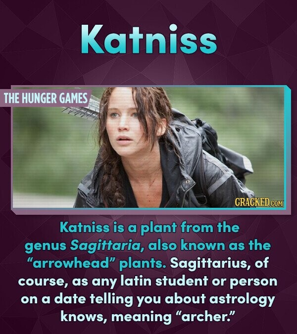 Katniss THE HUNGER GAMES CRACKED COM Katniss is a plant from the genus Sagittaria, also known as the arrowhead plants. Sagittarius, of course, as any latin student or person on a date telling you about astrology knows, meaning archer.