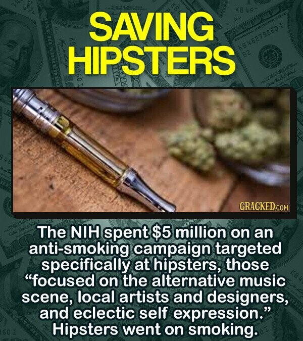 SAVING KB460 HIPSTERS KB46279860I CRACKED CON The NIH spent $5 million on an anti-smoking campaign targeted specifically at hipsters, those focused on the alternative music scene, local artists and designers, and eclectic self expression. Hipsters went on smoking.