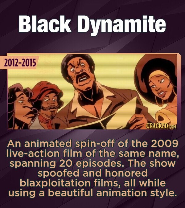 Black Dynamite 2012-2015 CRACKED COM An animated spin-off of the 2009 live-action film of the same name, spanning 20 episodes. The show spoofed and honored blaxploitation films, all while using a beautiful animation style.