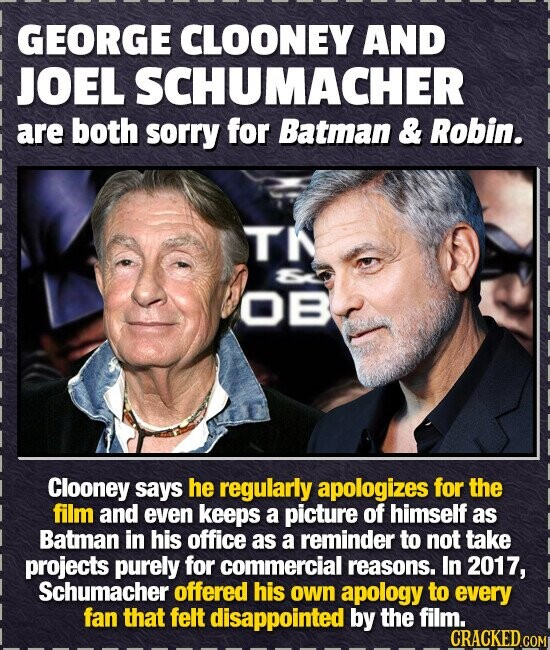 GEORGE CLOONEY AND JOEL SCHUMACHER are both sorry for Batman & Robin. TN 0B Clooney says he regularly apologizes for the film and even keeps a picture