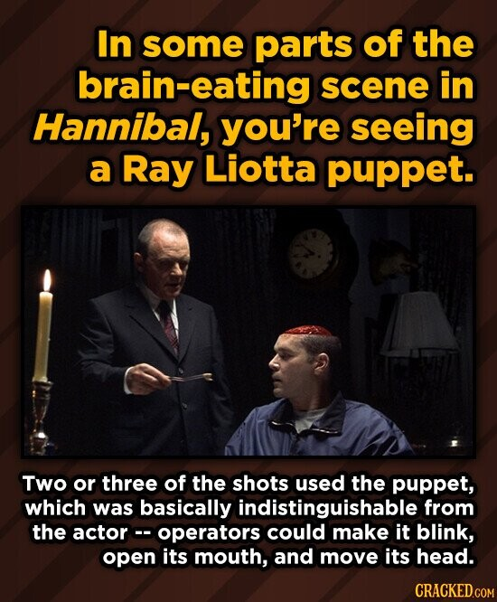 In some parts of the brain-eating scene in Hannibal, you're seeing a Ray Liotta puppet. Two or three of the shots used the puppet, which was basically indistinguishable from the actor operators could make it blink, open its mouth, and move its head.