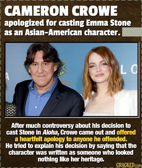 CAMERON CROWE apologized for casting Emma Stone as an Asian-American character. LO co. ake After much controversy about his decision to cast Stone in