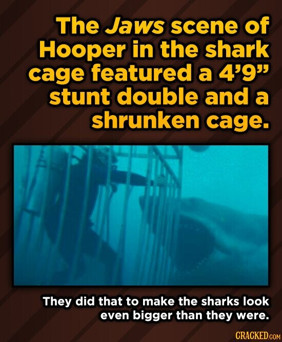 The Jaws scene of Hooper in the shark cage featured a 4'9 stunt double and a shrunken cage. They did that to make the sharks look even bigger than they were.