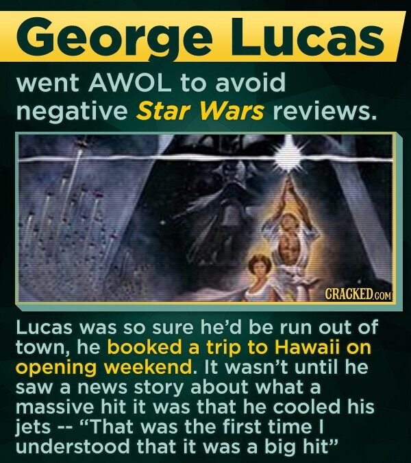 George Lucas went AWOL to avoid negative Star Wars reviews. Lucas was SO sure he'd be run out of town, he booked a trip to Hawaii on opening weekend. It wasn't until he saw a news story about what a massive hit it was that he cooled his jets -